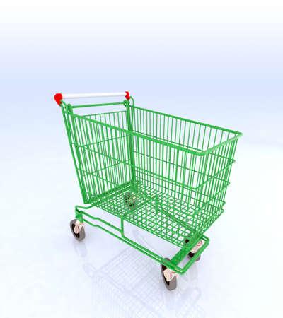 green cart, biological concept of shopping, 3d illustration illustration