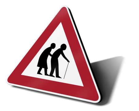 pensions: elderly traffic sign, 3d illustration Stock Photo