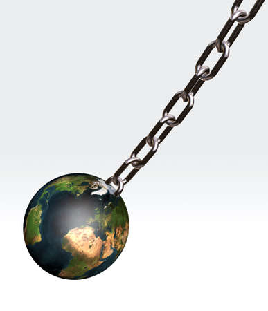 the world connected with a chain, 3d illustration illustration
