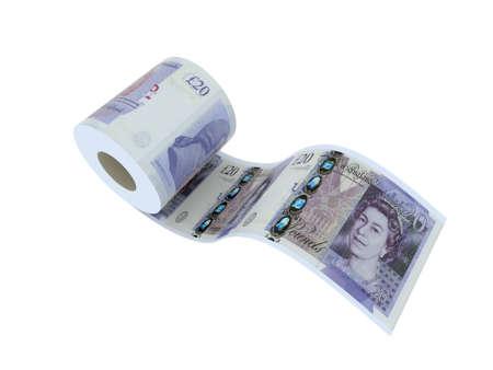 cash dispenser: twenty pounds toilet paper 3d illustration