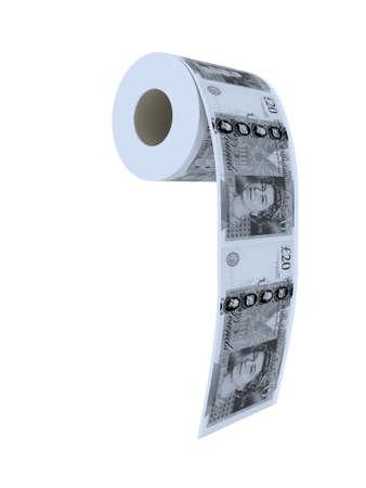 twenty pounds toilet paper 3d illustration Stock Illustration - 9222592