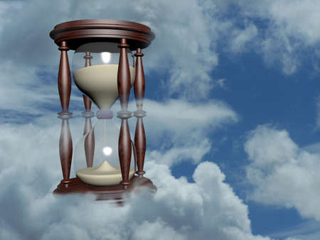 instrument of time: hourglass in the blue sky 3d illustration over sky photo Stock Photo