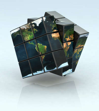 cube puzzle: the world inside the cubes Stock Photo