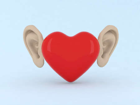 heart with ears 3d illustration illustration