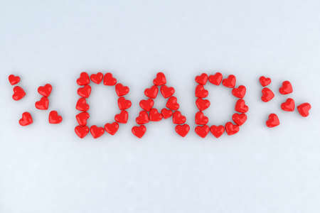 Written dad with little hearts 3d illustration illustration