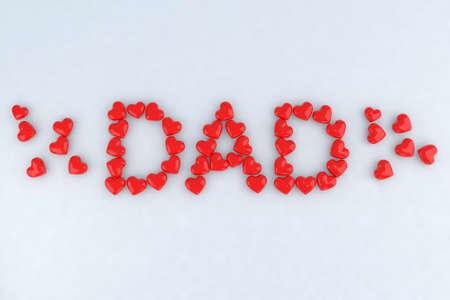 Written dad with little hearts 3d illustration illustration