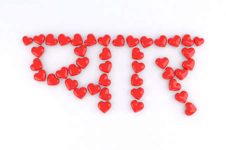 word love in Hindi with small red hearts 3d illustration illustration