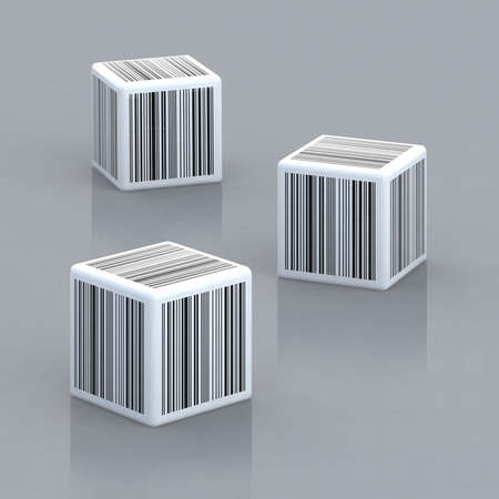 up code: three cubes with barcodes 3d illustration