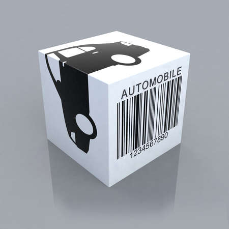 barcode scan: cube with automobile and barcode 3d illustration