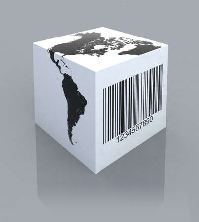 box with america map and barcode 3d illustration
