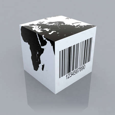 barcode scanning: cube with world map and barcode 3d illustration Stock Photo