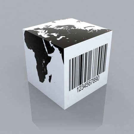 barcode scan: cubo con ilustraci�n 3d de mundo mapa y c�digo de barras Foto de archivo