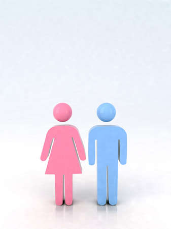 3d marriage icon, male and female couple Stock Photo - 9320713