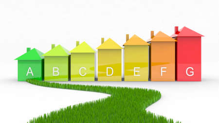 energy efficiency 3d illustration with green way illustration