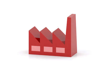 red icon: red factory 3d icon