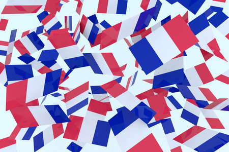 French flags in the air 3d illustration illustration