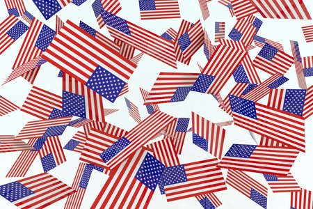 American flags in the air 3d illustration illustration