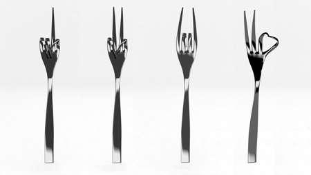 famine: fork indicating 3d illustration