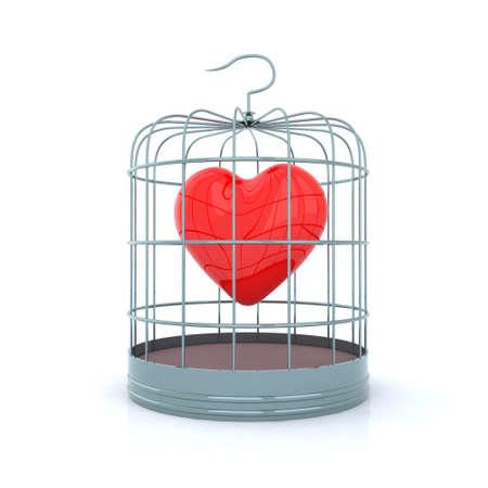 sad love: heart inside the birdcage 3d illustration