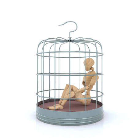 puppet inside the birdcage 3d illustration Stock Illustration - 9411308