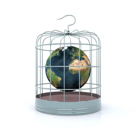 world inside the birdcage 3d illustration Stock Illustration - 9411320