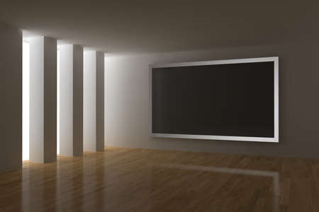 big screen: home cinema 3d render with big plasma screen Stock Photo