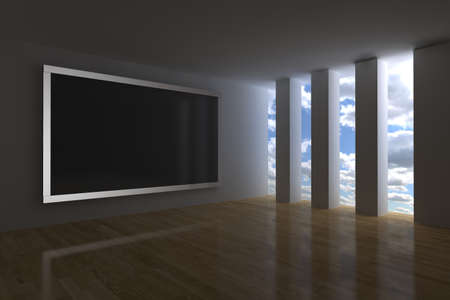 surround system: 3d render with big interactive plasma screen