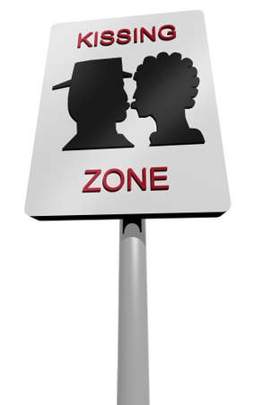 kissing mouth: kissing zone urban sign 3d illustration