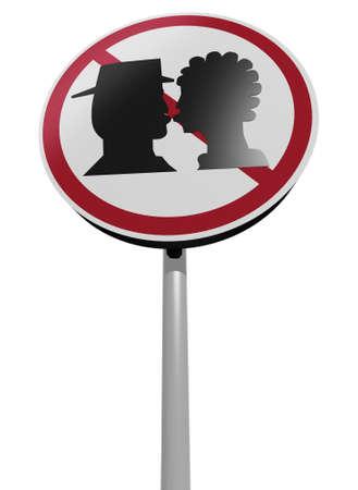 besos de señales de tráfico de la zona ilustración 3d