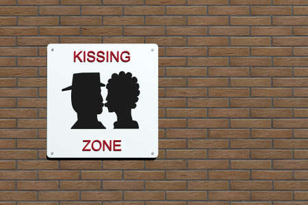 kissing zone urban sign in the wall, 3d illustration illustration