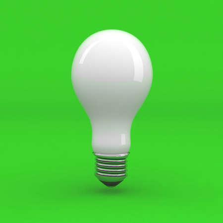 white light bulb on green background, 3d illustration illustration