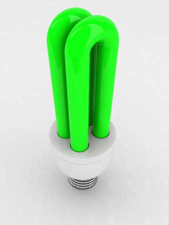 luminescent: green luminescent light bulb 3d illustration