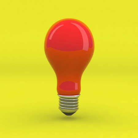 lite: red light bulb on yellow background, 3d illustration