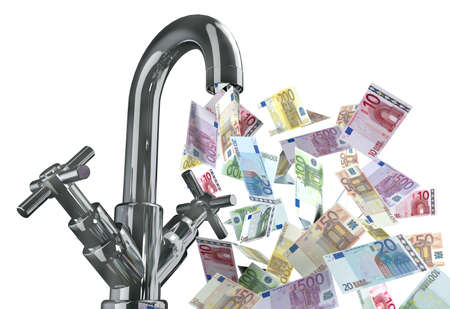 tap water with euro banknotes 3d illustration illustration