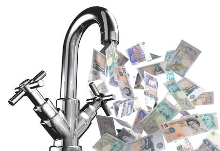 tap water with English banknotes 3d illustration Stock Photo