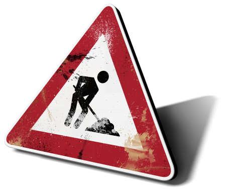 body work: traffic sign work in progress 3d illustration Stock Photo