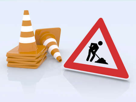 digging: sign work in progress and traffic cones 3d illustration