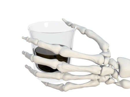 skeleton hand with a glass of alcohol or poison 3d illustration Stock Illustration - 9428183