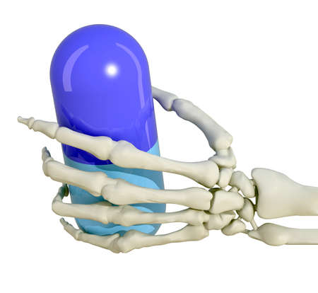 skeleton hand with drug pill 3d illustration Stock Illustration - 9428211