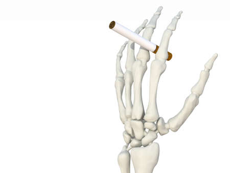 Hand Skeleton with cigarette 3d illustration Stock Illustration - 9428220