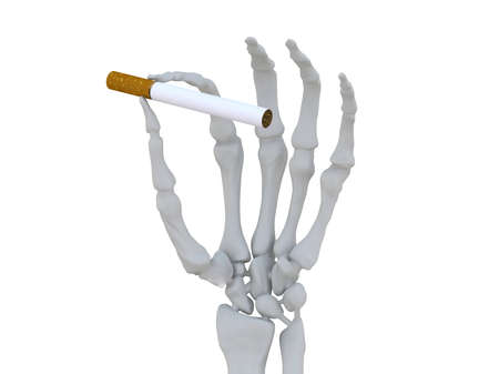 skeleton hand with cigarette 3d illustration Stock Illustration - 9428219