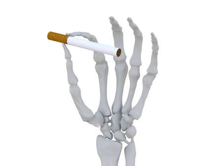skeleton hand with cigarette 3d illustration Stock Illustration - 9428219