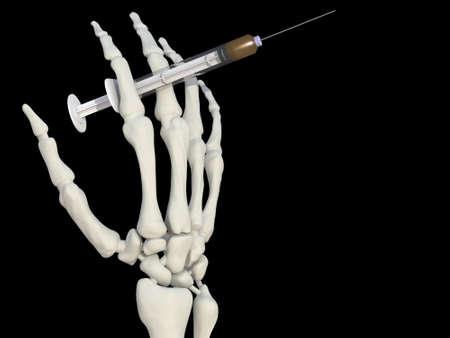 skeleton hand with syringe drug 3d illustration Stock Illustration - 9428203