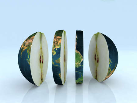 the world like a sliced apple 3d illustration Stock Photo
