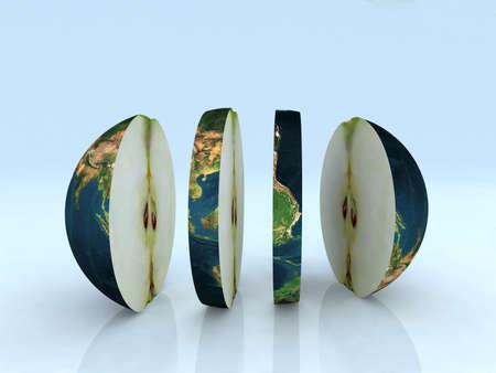 apple core: the world like a sliced apple 3d illustration Stock Photo