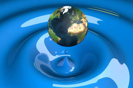 the world as a drop on liquid blue wavy 3d illustration illustration