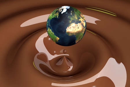 terrestrial globe: the world as a drop on liquid brown wavy 3d illustration