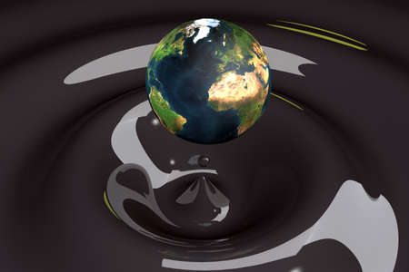 ripple effect: the world as a drop on liquid black wavy 3d illustration