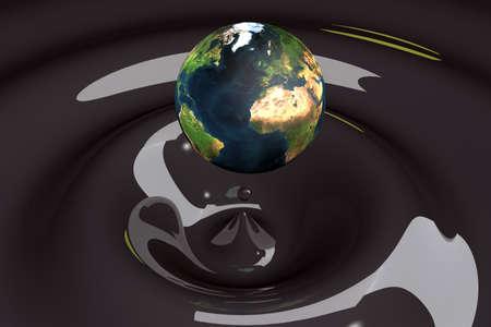 the world as a drop on liquid black wavy 3d illustration Stock Illustration - 9432053