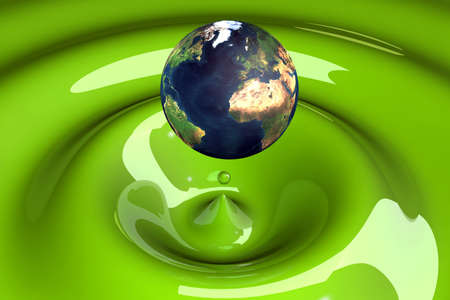 extra virgin olive oil: the world as a drop on liquid green wavy 3d illustration